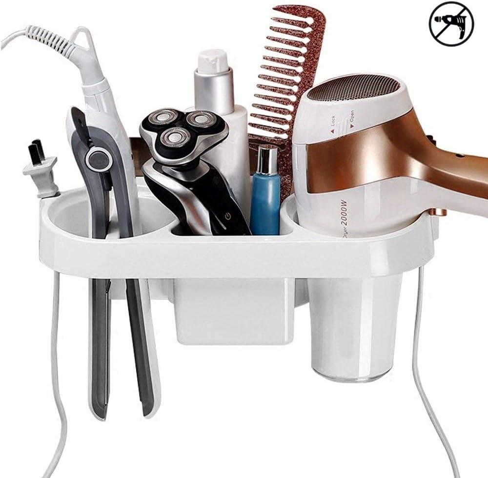 COAWG - Soporte para secador de pelo de pared, adhesivo sin perforación, plástico resistente al calor, para secadora, accesorios de herramientas para el pelo, cesta organizadora para baño Dyson