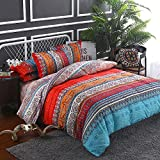 Koongso Bohemian Ethnic Style Bedding Chic Boho Floral Print Bedding American Country Style Bedding Duvet Cover Set (King Size)