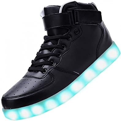 [Present:kleines Handtuch]Weiß 41 Damen Sport Schuhe JUNGLEST Leuchtende Light Sneakers High Led Licht Blinkende Top iWRx3os3