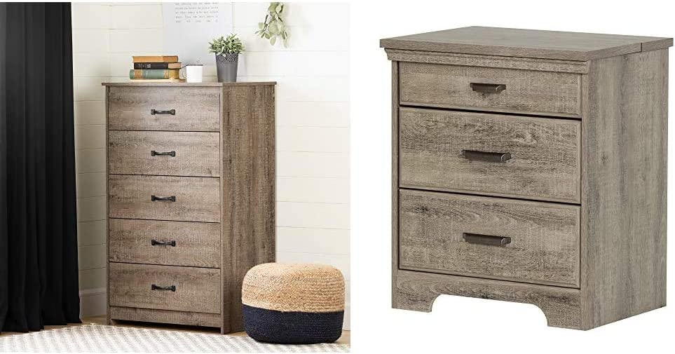 South Shore Tassio 5-Drawer Chest Weathered Oak & Versa Nightstand with 2 Drawers and Charging Station, Weathered Oak