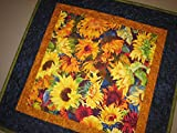 Sunflower Yellow Summer Quilted Table Topper, 21 x 21'' Cotton Reversible