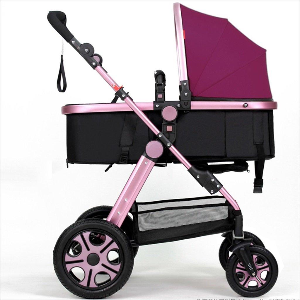 新生児の赤ちゃんキャリッジ折りたたみ可能な座って、1ヶ月のためのダンピングの赤ちゃんカートに落ちることができます 3歳の赤ちゃんの双方向四輪ベビートロリーを振るのを避ける (色 : パープル ぱ゜ぷる) B07DVBWZ2M パープル ぱ゜ぷる パープル ぱ゜ぷる