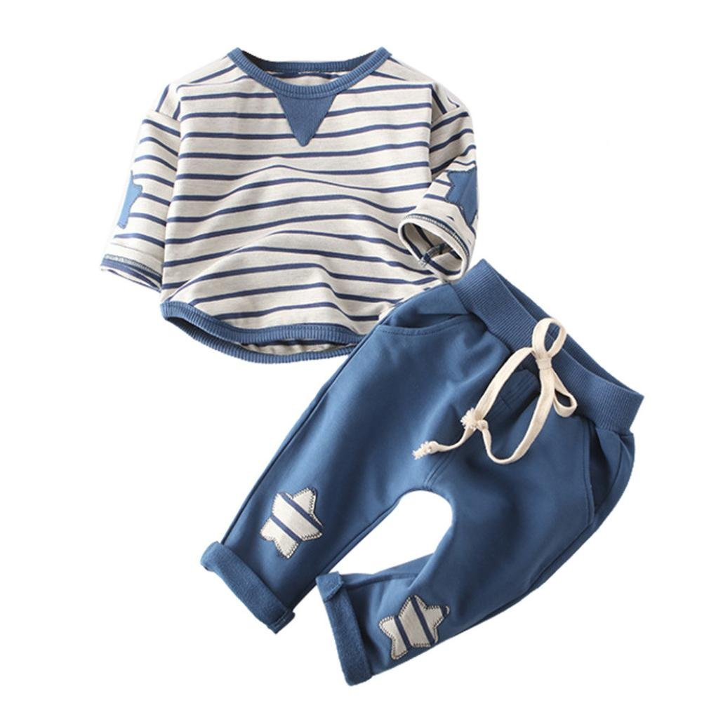 Baby Clothes Set Winter Fall MITIY Comfortable Children Boy Girl Cotton Stipe T-Shirt and Star Solid Pants (Blue, 24-36M) by MITIY Kids Clothes