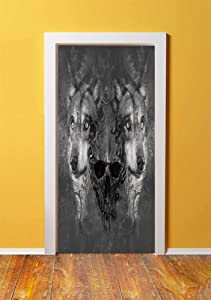Wolf 3D Door Sticker Wall Decals Mural Wallpaper,Abstract Skull Figure Between Two Canine Animals Wildlife Grunge Tattoo Like Artwork,DIY Art Home Decor Poster Decoration 30.3x78.18304,Grey Black