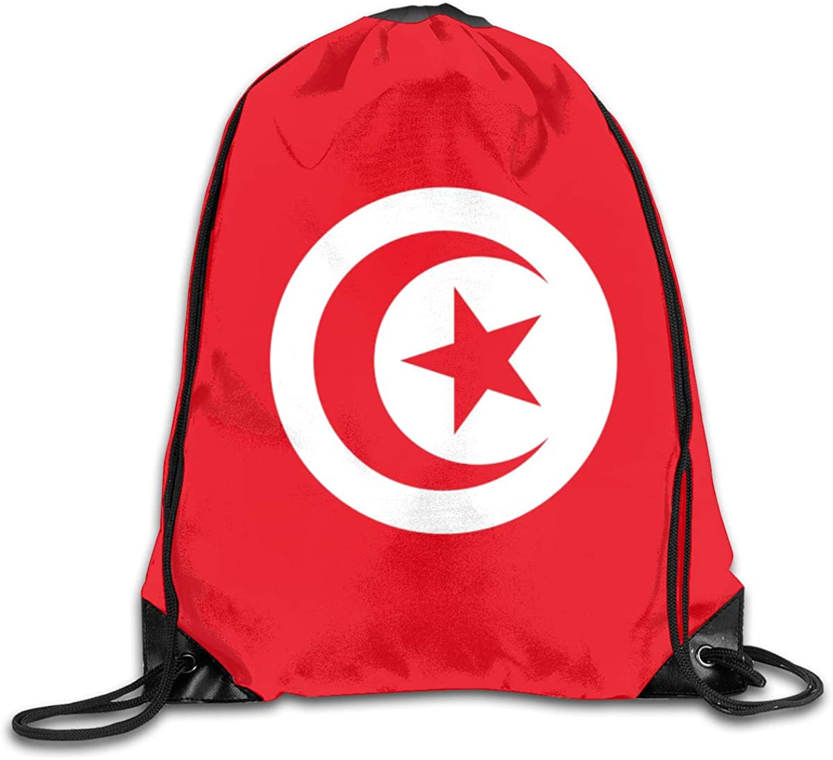 Flag Of Tunisia Beam Mouth Backpack Pull Rope Shoulder Bag Outdoor Sports Leisure Bag