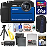 Panasonic Lumix DC-TS7 4K Tough Shock & Waterproof Digital Camera (Blue) 64GB Card + Battery & Charger + Case + Float Strap + Tripod Kit