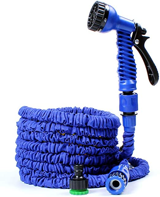 SXUUXB 25FT Manguera de Agua para jardín, 3 Veces Extensible y Extensible Tubo Flexible de Manguera para Agua Flexible con 7 Funciones Pistola para Lavar Coche, Flor de riego, Verduras(Azul): Amazon.es: Jardín