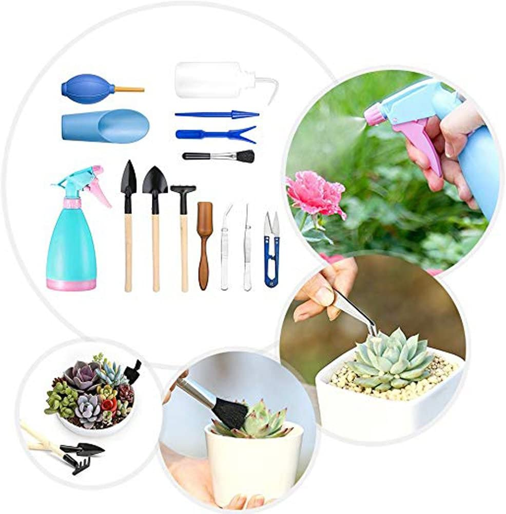 14 Pcs ,pour le Jardinage Ensemble dOutil pour les Plantes Outils de plantation de jardin miniature Ensemble dOutil a Main,bouilloire et pelle pulv/érisateur Doutils de jardinage mini Ensemble etc.