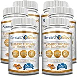 Research Verified Turmeric Curcumin - with BioPerine, 95% Standardized Curcuminoids - Natural Anti-Inflammatory, Antioxidant, Pain Relief and Antidepressant - 6 Bottles (6 Months Supply)