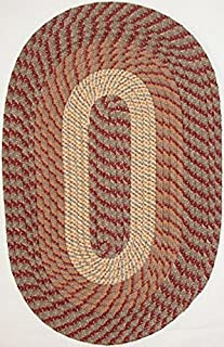 "product image for Plymouth 5' 6"" x 8' 6"" (66"" x 102"") Oval Braided Rug in Sunset Copper Made in USA"