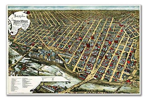 Birds Eye View Wall MAP of MINNEAPOLIS MINNESOTA circa 1891 - measures 36