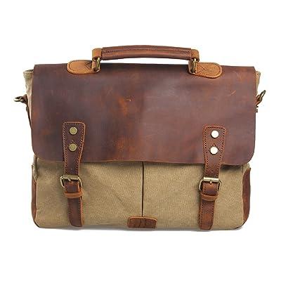 Travables Leather Vintage Messenger Bag for 15.6 inch laptops,Satchel Briefcase Bag for Men and Women (Khaki) hot sale 2017