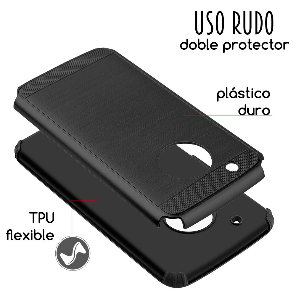b5e0d70622f DreamWireless Funda Case para Motorola Moto G5 Plus, Doble Protector Armor  de Uso Rudo con Aspecto Metálico, Color Negro: Amazon.com.mx: Electrónicos