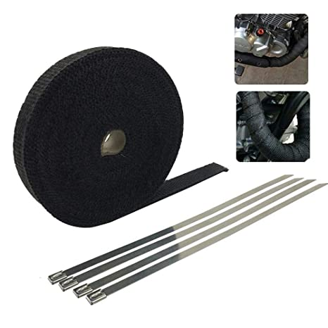 5cm x 5m Black Exhaust Manifold Header Downpipe Heat Wrap Front Pipe