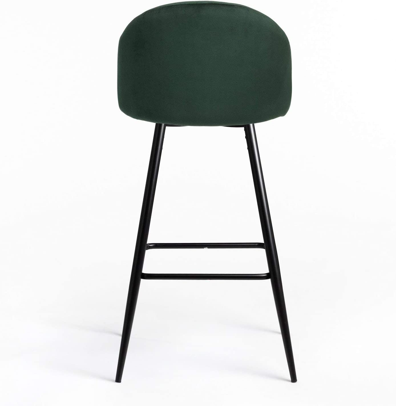 SKLUM Taburete Alto en Terciopelo Kana Terciopelo Negro Verde Jungla Elige Color
