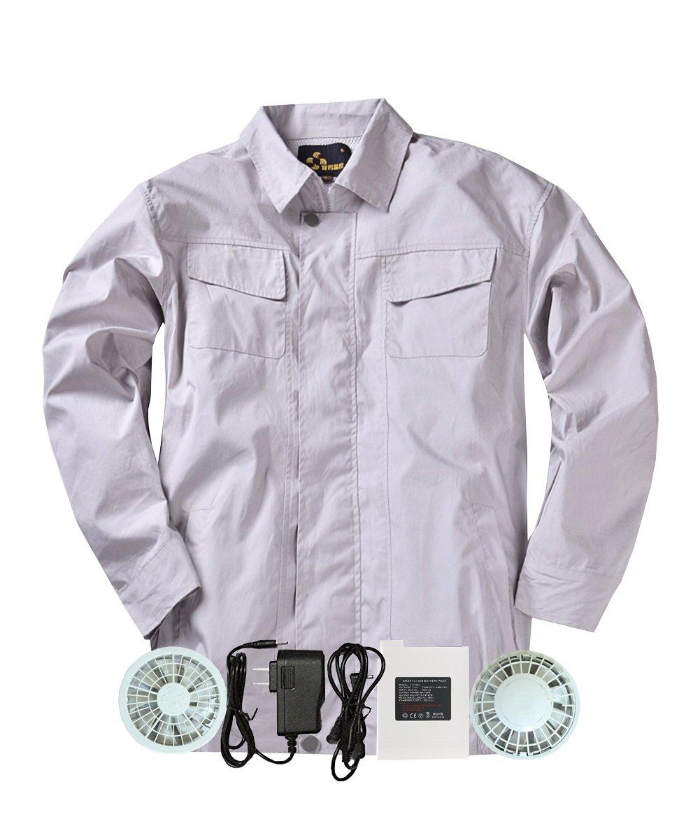 M2C 空調服 空調服神服 長袖ワークブルゾン 2枚セット 綿100% 作業服 ファン付き リチウムイオンバッテリーセット 熱中症対策 B0722K65LC XXL(Aセット)|シルバー シルバー XXL(Aセット)