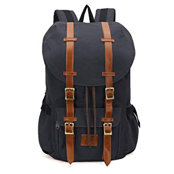 042341c4c7 Amazon.com  ONEB Casual Laptop Canvas Backpack Unisex Vintage Leather  School Bags Large Capacity Hiking Travel Rucksack Business Daypack (19  inches)  ONEB