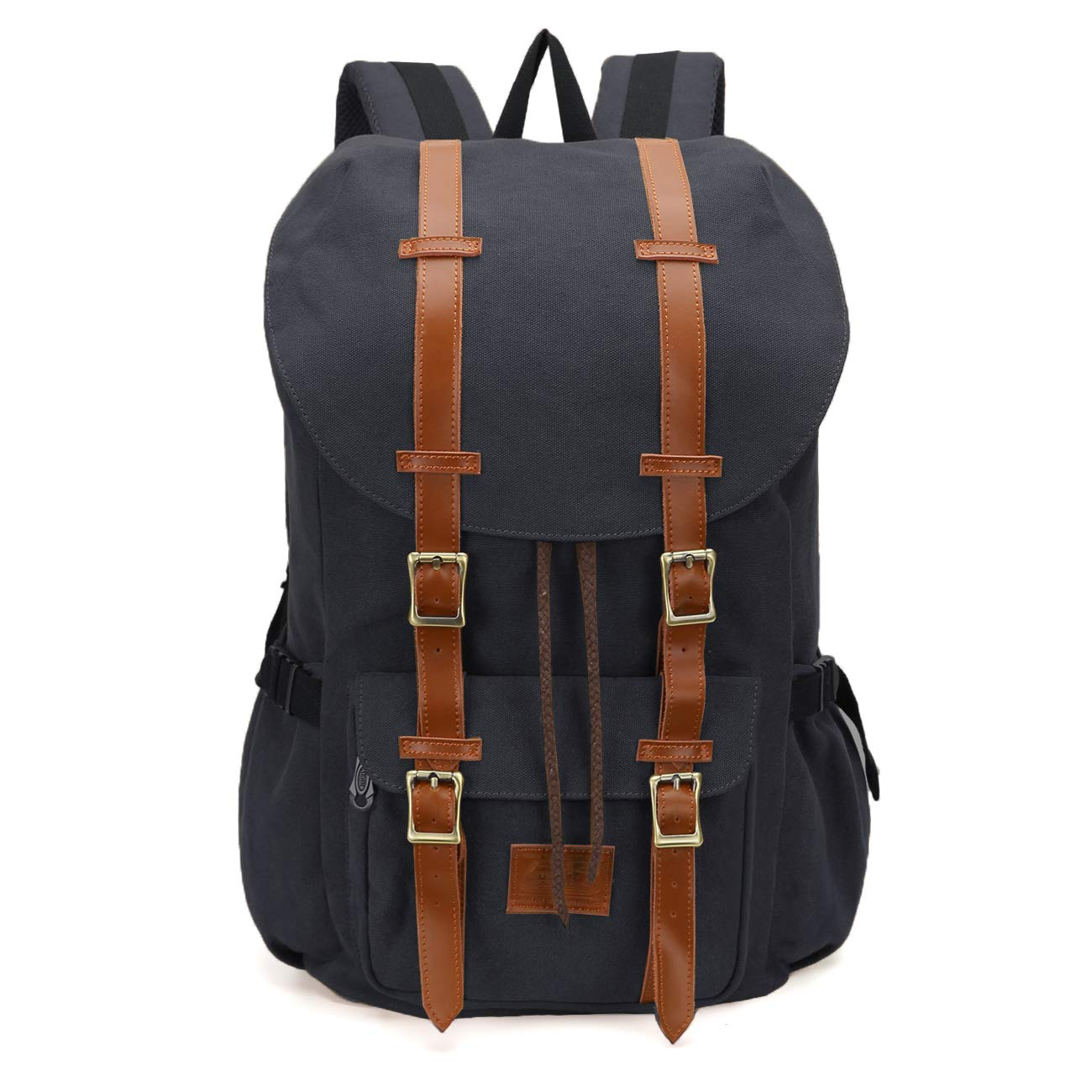 ONEB Casual Laptop Canvas Backpack Unisex Vintage Leather School Bags Large Capacity Hiking Travel Rucksack Business Daypack (19 inches Black)
