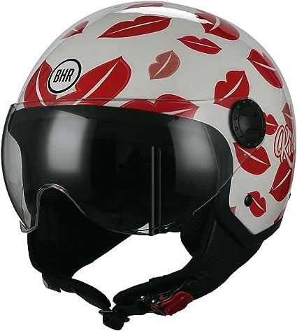 Bhr Demi Jet Motorradhelm Modell One 801 Weiss Und Rot Kiss Me GrÖße Xl Auto