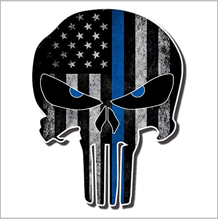 Set of 3 decals Thin Blue Line Blue Line Tattered Flag Punisher Deacals