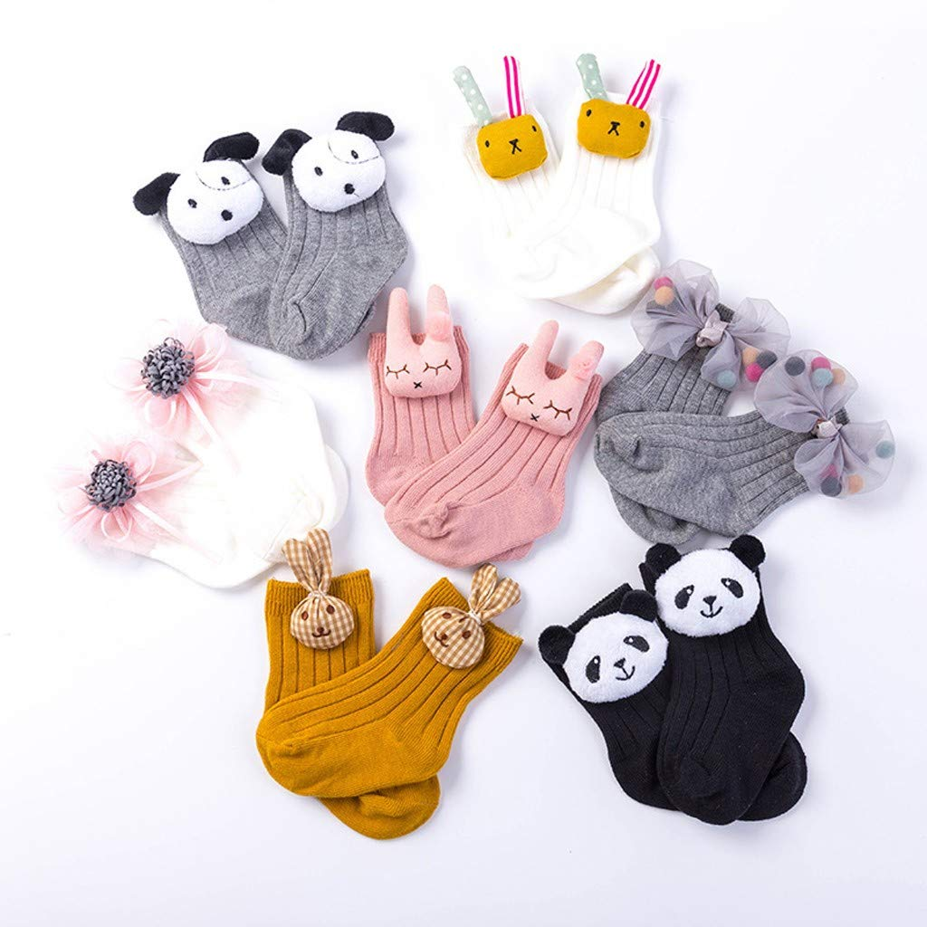KASSD 2 Pairs Children Socks Baby Girls Cartoon Rabbit Floral Anti-Slip Floor Sock 0-5 Years