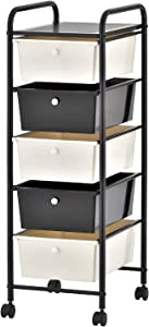 Moxeay Metal Storage Cart with Drawers 5 Drawer Rolling Storage Cart and Organizer Mobile Storage Organizer Cart Utility Organizer Cart for School Office Salon (Black)