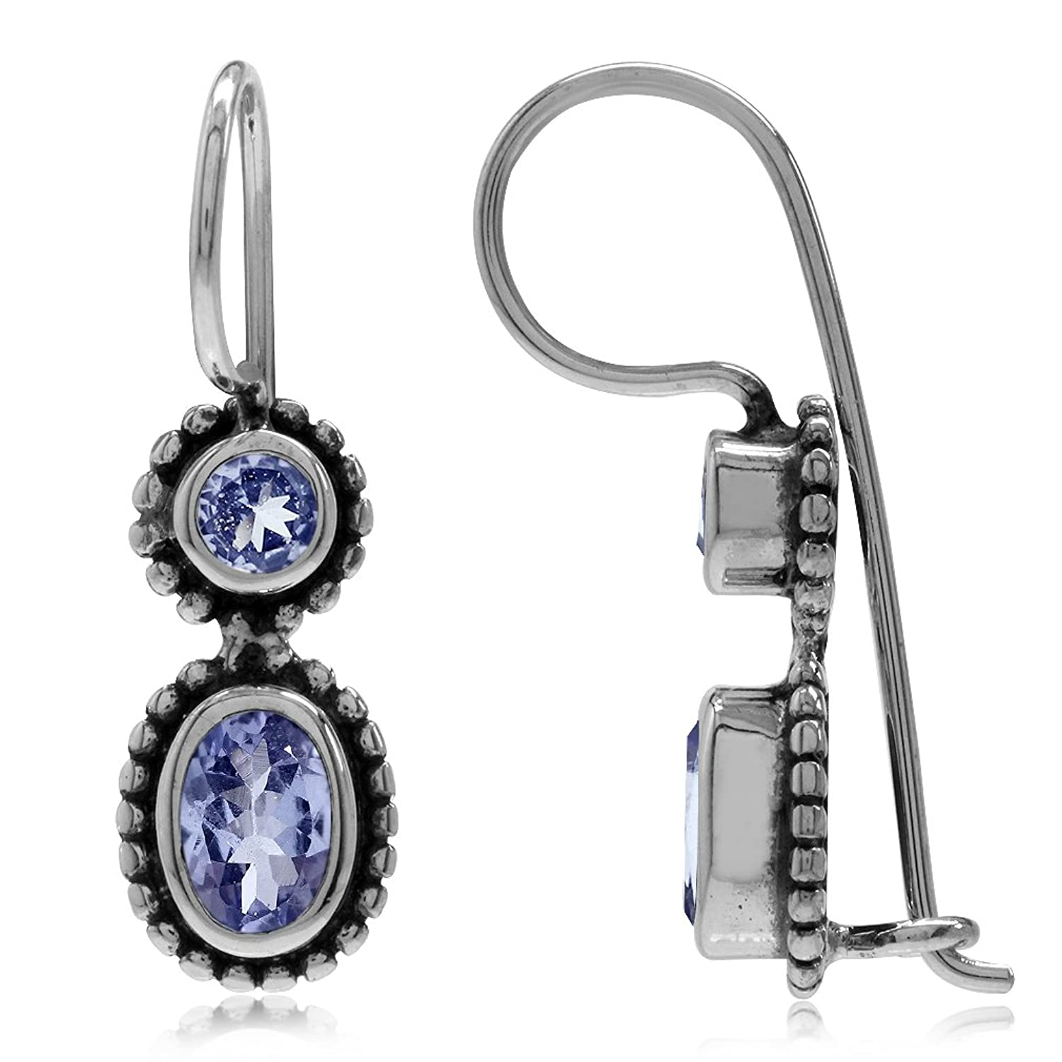 1.02ct. Genuine Tanzanite Antique Finish 925 Sterling Silver Balinese Hook Earrings