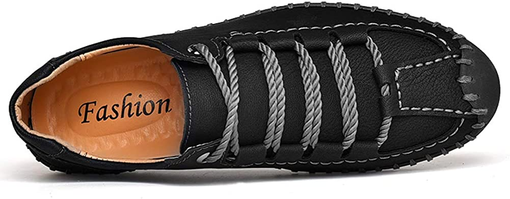 Moodeng Mens Sandals Leather Breathable Close-Toe Sandals Non-Slip Summer Adjustable Beach Fisherman Slippers Outdoor