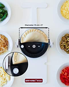 Empanada Maker Professional use. Exclusive Exchangeable Letter System To Identify Flavors (30 Letters & Symbols Included). Teflon Cover. Makes 120 empanadas/hour. Empamec 13cm - (5