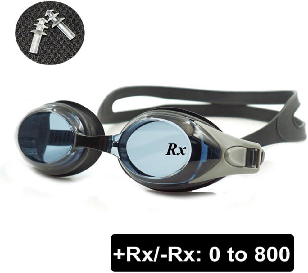 EnzoDate Gafas de natación ópticas para hipermetropía RX de + 1,0 a + 8,0, miopía de -1,0 a -8,0, para Adultos y niños, protección Frente a Rayos Ultravioleta