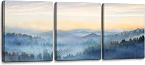 Wall Decor for Bedroom 3 Panel Sunrise Misty Forest Print Picture Paintings Wall Art for Living Room Bathroom Framed Canvas Artwork Modern Room Wall Decorations Size 12x16 x 3 Piece Ready to Hang