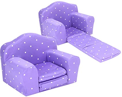 Sophiau0027s Purple Polka Dot Doll Furniture Pull Out Chair Bed Plush Chair For  Dolls Converts To