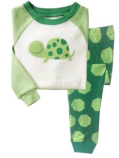 e81f74d430 Little Hand Jungen Zweiteiliger Schlafanzug Baumwolle Lange Nachtwäsche  Tier Schildkröte Kinder Pyjama (01-Grün