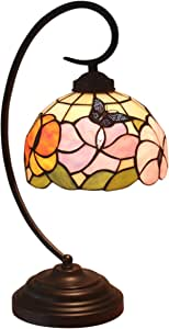 Tiffany Style Butterfly Sunflower Table Lamp,8-Inches Wide Handmade Stained Glass Shade,Iron Alloy Base,Push Button Switch,Lover Parents Children Bedroom Bedside Living Room Desk Lamp