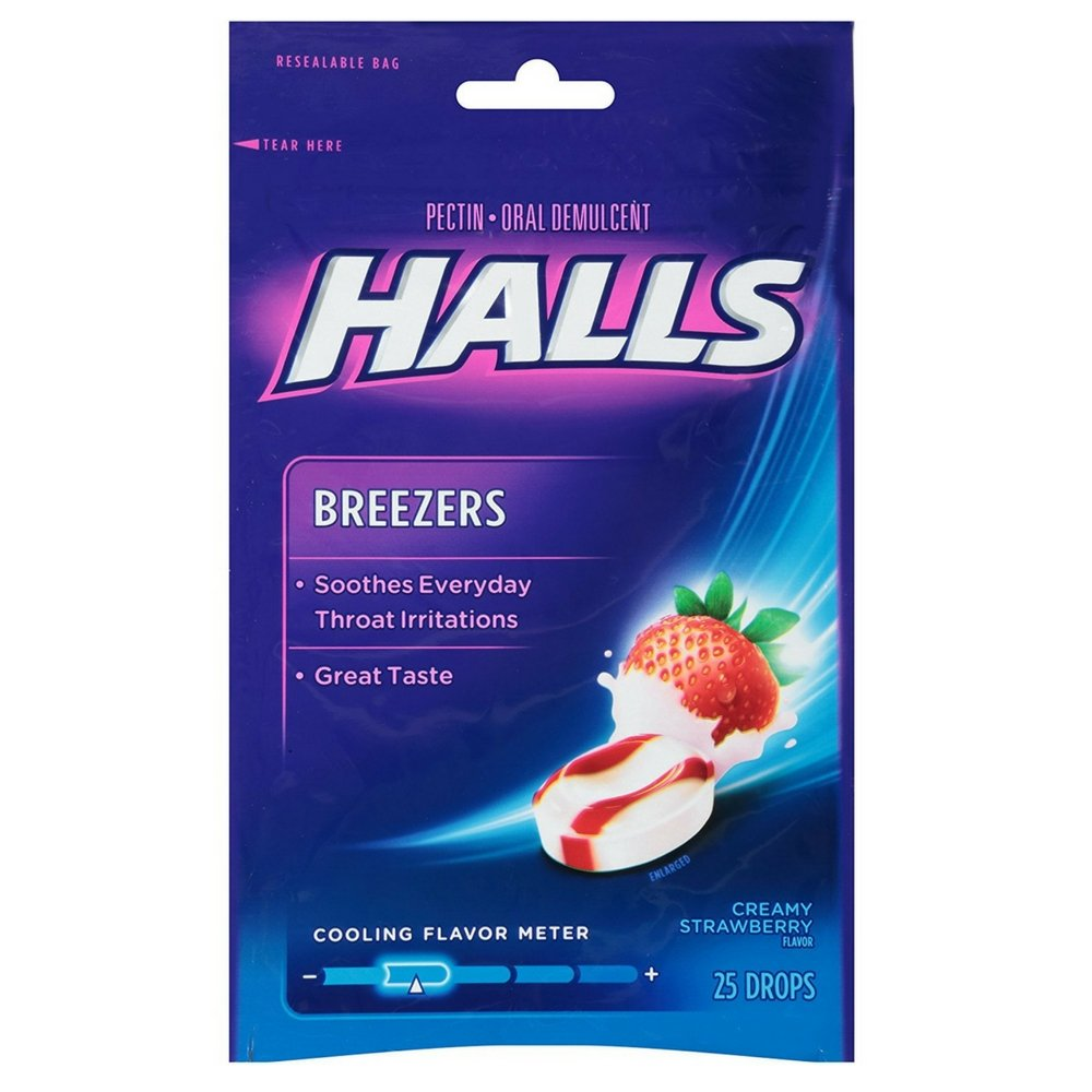 Halls Breezers Drops Cool Creamy Strawberry 25 ea (Pack of 24) by Halls