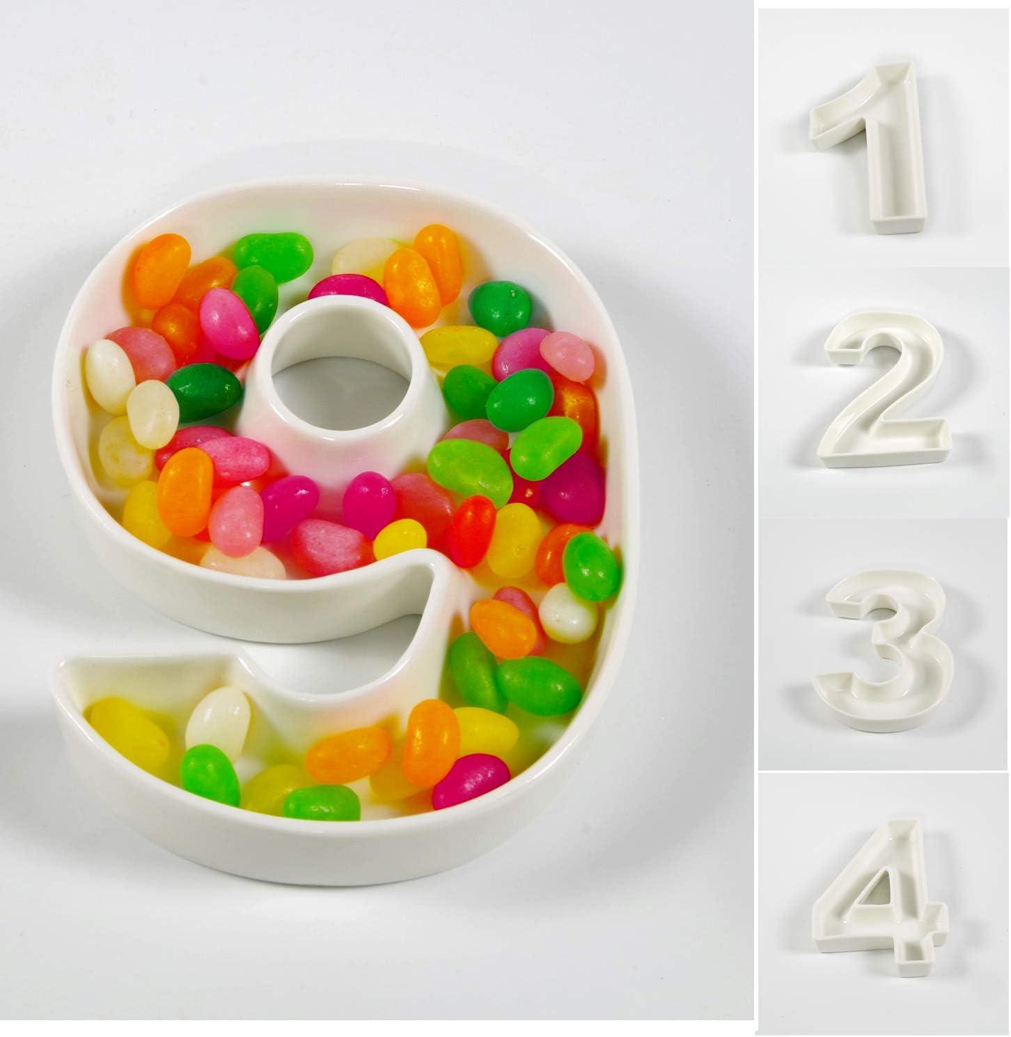 Amazon.com: gifttes blanco número de cerámica plato para ...