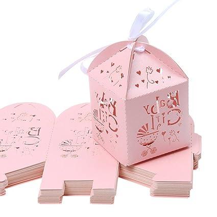 Pixnor Corte del Laser de 50 piezas con carro hueco patrón caramelo caja Baby Shower boda