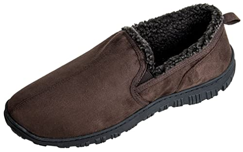 b5048ccd5 MIXIN Men s Moccasins Slippers Comfy Warm Soft Fuzzy Lining Hard Rubber  Sole Slip-on Memory