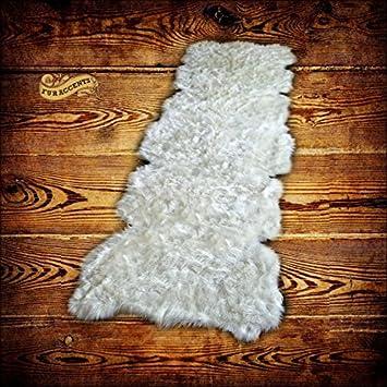 thick white shag sheepskin pelt rug faux flokati rug suede lined 5 long
