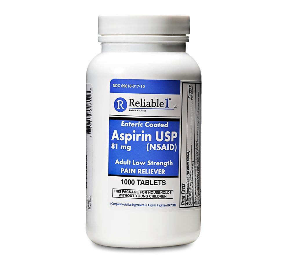 Reliable 1 Aspirin USP 81 mg (NSAID) 1000 Enteric Coated Tablets (1 Bottle)