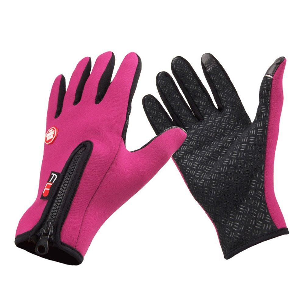 Crazy 防湿 アウトドア サイクリング スキー 冬 寒い天候 手袋 指手袋 大人&ティーン用 B0169M81D0  ピンク Large