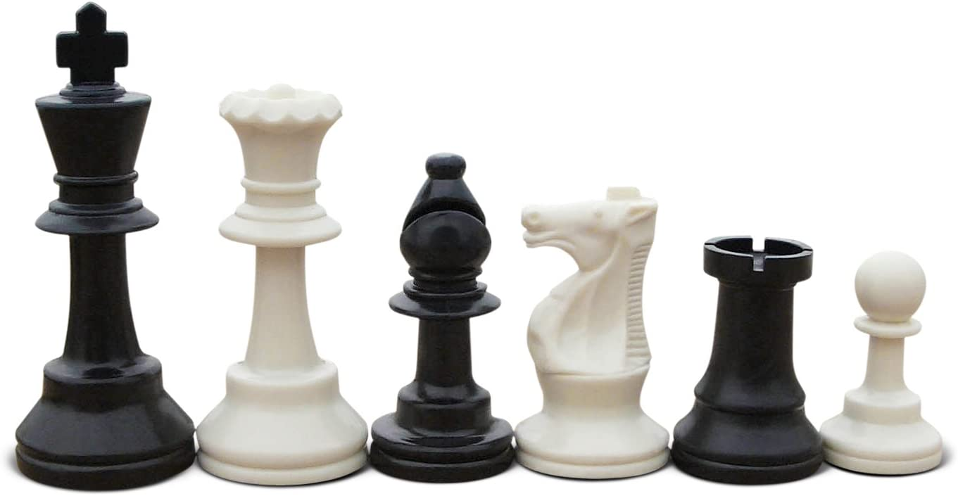 Staunton Triple Weighted Chess Pieces 4 Queens Full Set 34 Black /& White