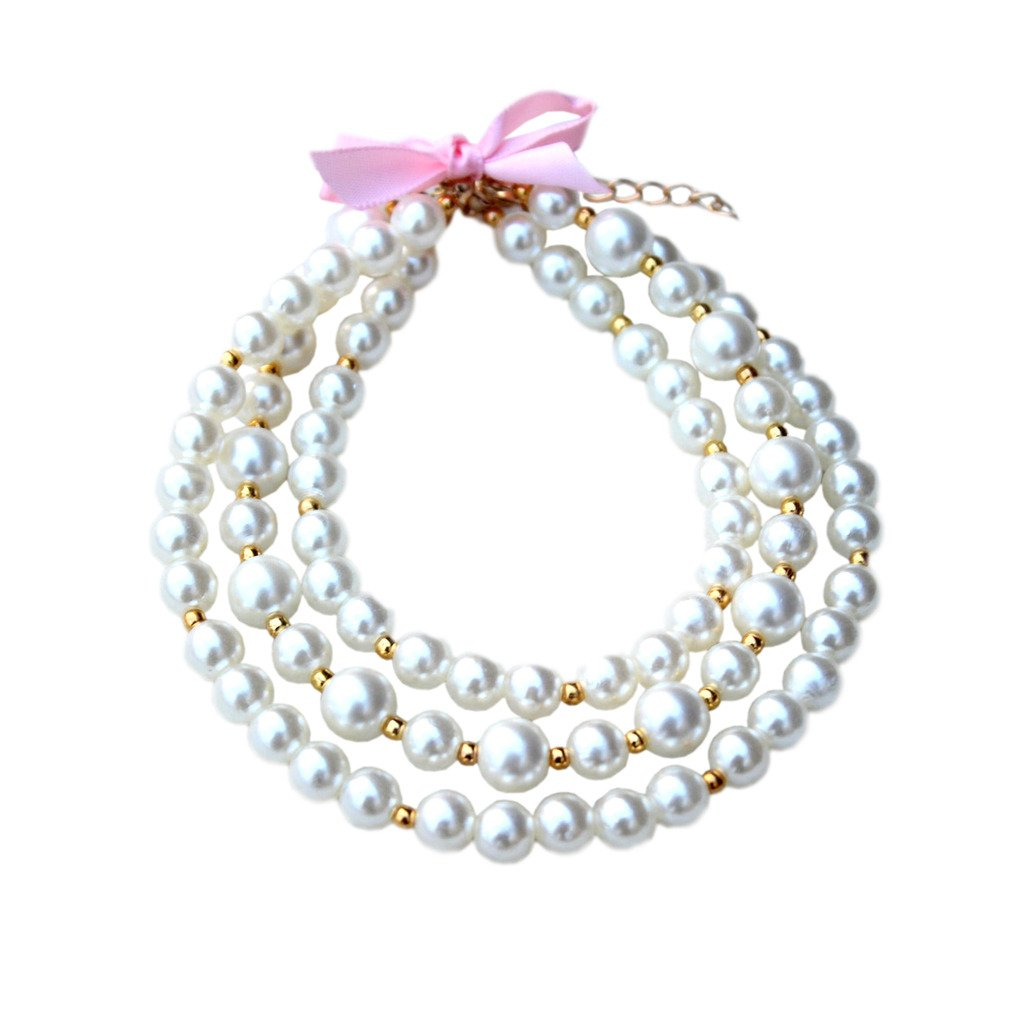 PET SHOW Fashion Three Layers Ivory Faux Pearl Bling Pet Cat Puppy Small Dog Necklace Collar Jewelry Grooming Costume Accessories Size M Pack of 1
