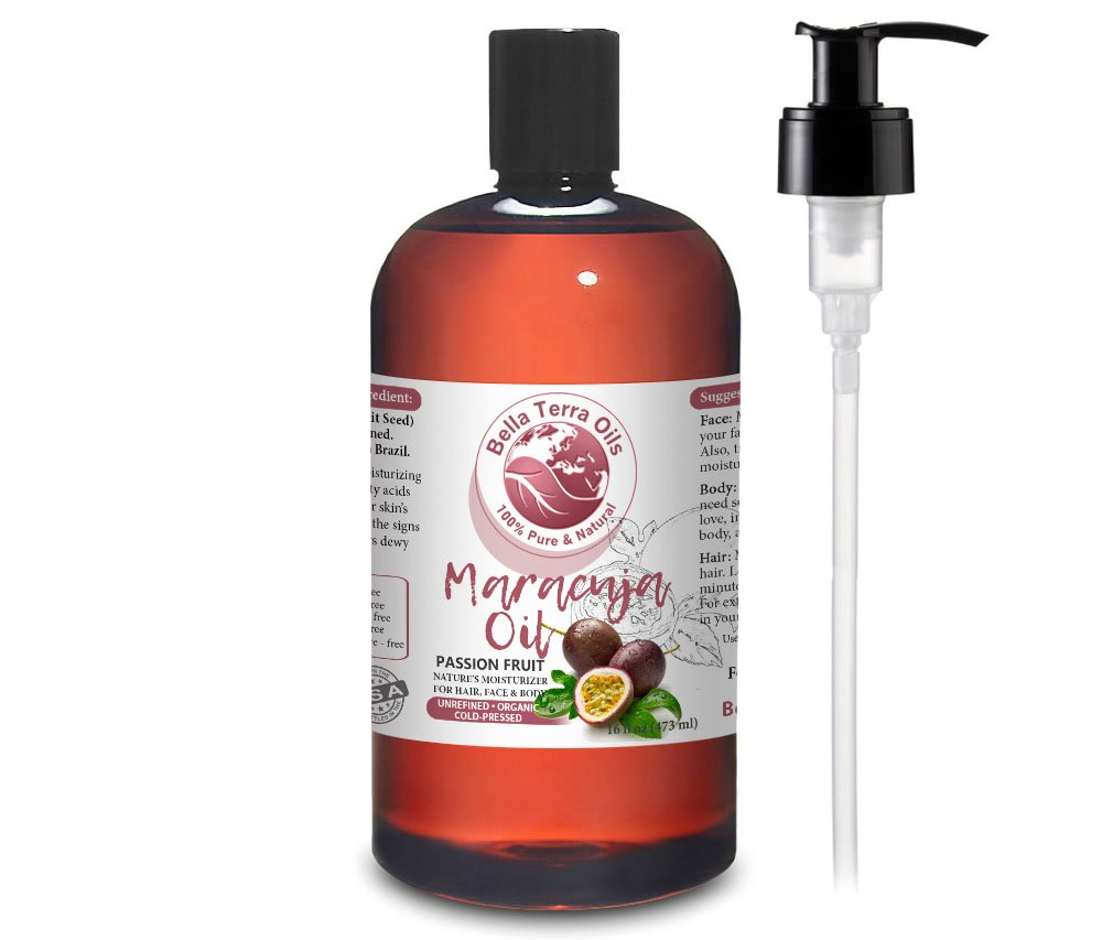 NEW Maracuja Oil (Passion Fruit). 16oz. Cold-pressed. Unrefined. Organic. 100% Pure. Non-GMO. Hexane-free. Fights Wrinkles. Softens Hair. Natural Moisturizer. For Hair, Skin, Beard, Stretch Marks.