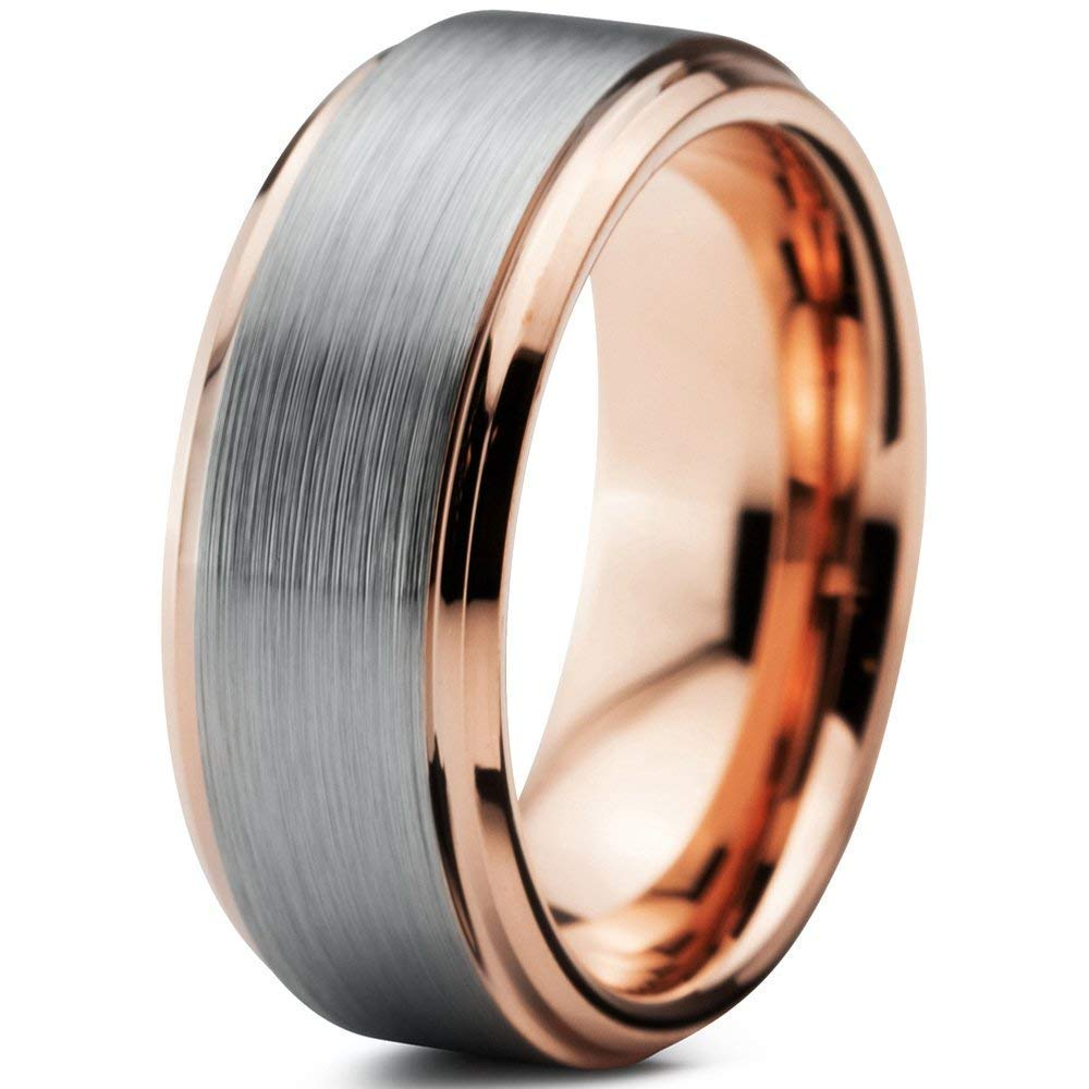 It is just an image of Tungsten Wedding Band Ring 411mm 411mm 411mm 41mm for Men Women Comfort Fit 1411k Rose Gold Plated Beveled Edge Brushed Polished Custom Laser Engraving