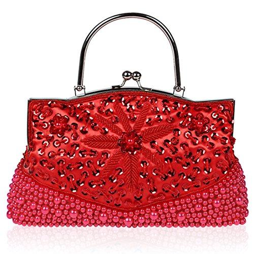 YYW Sequin Clutch Bag - Cartera de mano para mujer Red