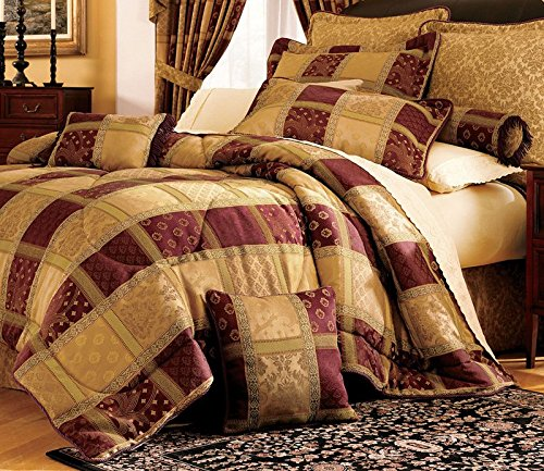 7 Piece Burgundy Jewel Patchwork Comforter Set King
