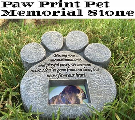 paw print pet memorial stone features a photo frame and sympathy