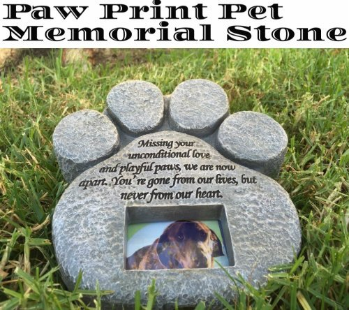 Urns paw print pet memorial stone gravestones picture grave garden this paw print pet memorial keepsake grave stone or garden stone is beautifully designed and stamped with a touching poem and has an frame opening to workwithnaturefo