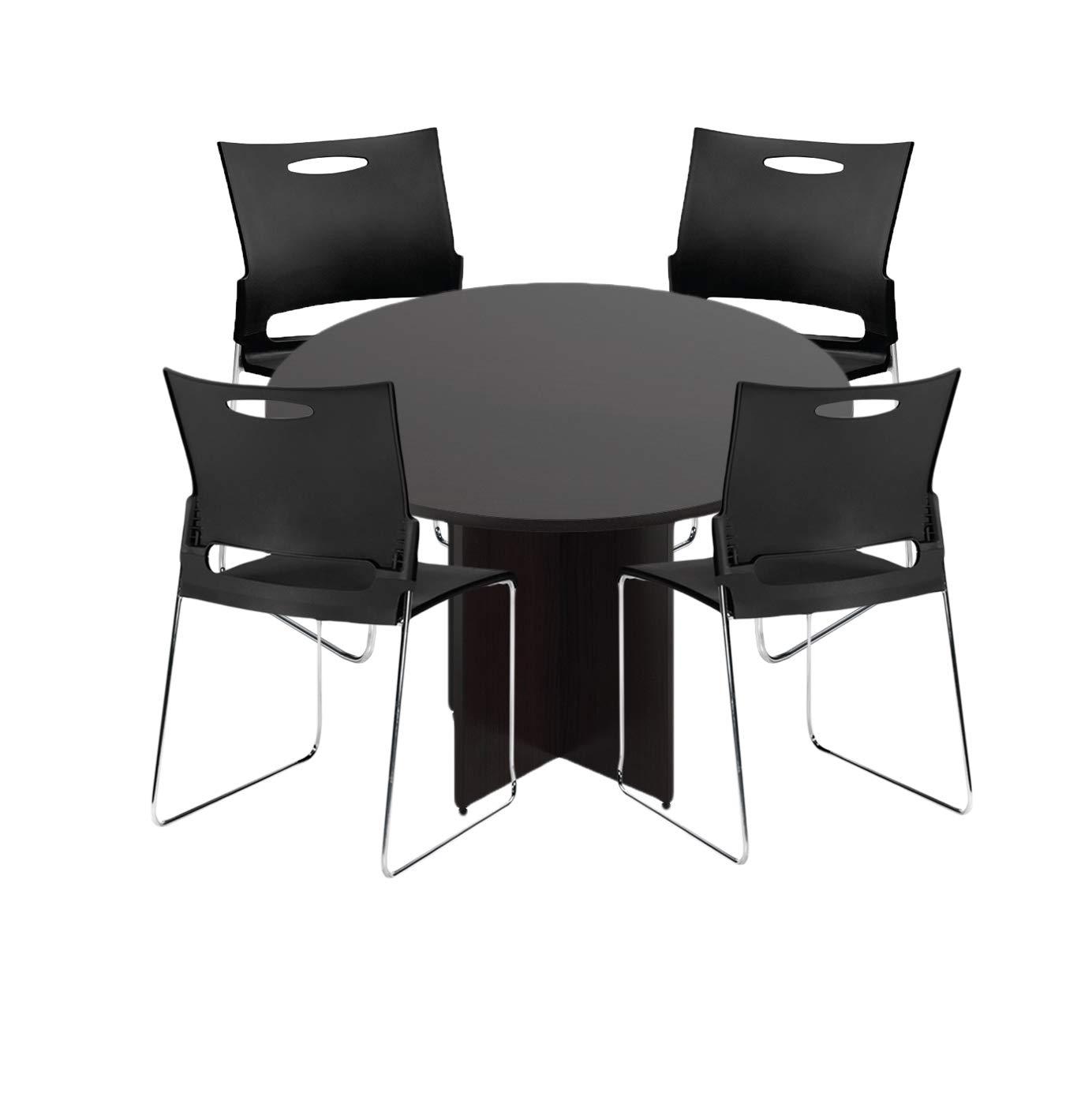 GOF 48'' Round Table (48W x 48D x 29.5H), Cherry, Espresso, Mahogany, Walnut (Espresso 5-Piece Table Set)